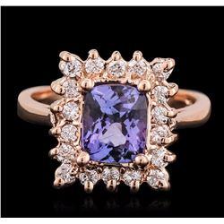 14KT Rose Gold 1.56 ctw Tanzanite and Diamond Ring