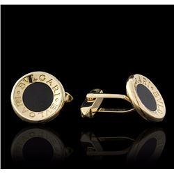 18KT Yellow Gold Black Onyx Bulgari Cuff Links