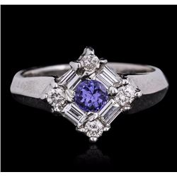 14KT White Gold 0.33 ctw Tanzanite and Diamond Ring