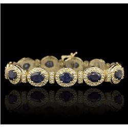 14KT Yellow Gold 17.82 ctw Sapphire and Diamond Bracelet