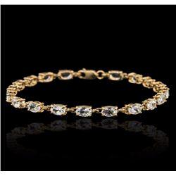 10KT Yellow Gold 5.00 ctw Aquamarine Bracelet
