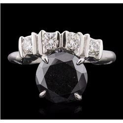 14KT White Gold 0.50 ctw Black Diamond Ring