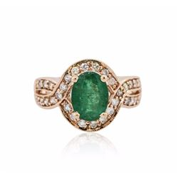 14KT Rose Gold 1.47 ctw Emerald and Diamond Ring