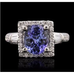 14KT White Gold 2.05 ctw Tanzanite and Diamond Ring
