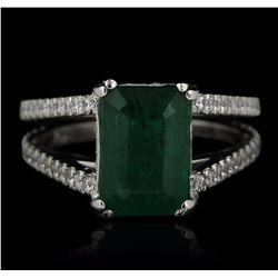Platinum 3.63 ctw Emerald and Diamond Ring