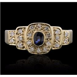 14KT Yellow Gold 0.10 ctw Sapphire and Diamond Ring