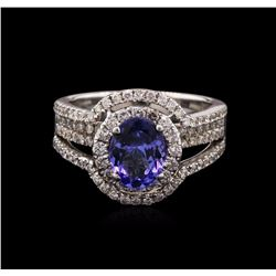 1.25 ctw Tanzanite and Diamond Ring - 18KT White Gold