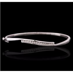 14KT White Gold 0.80 ctw Diamond Bangle Bracelet
