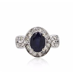 14KT White Gold 2.70 ctw Sapphire and Diamond Ring