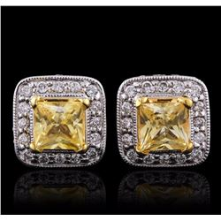 18KT White Gold 2.00 ctw Yellow Sapphire and Diamond Earrings