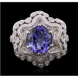 18KT White Gold 3.92 ctw Tanzanite and Diamond Ring