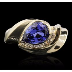 14KT Yellow Gold 2.00 ctw Tanzanite and Diamond Ring