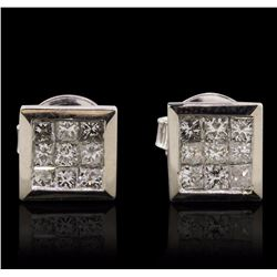 14KT White Gold 0.73 ctw Diamond Earrings