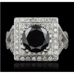 14KT White Gold 3.94 ctw Black Diamond Ring