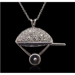 14KT White Gold Diamond and Enamel Pendant With Chain