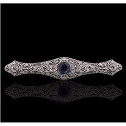 18KT White Gold 1.58 ctw Sapphire and Diamond Brooch