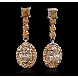 14KT Two-Tone Gold 1.56 ctw Diamond Dangle Earrings