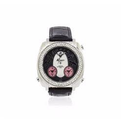 Polanti Stainless Steel Diamond 3 Time Zone Watch