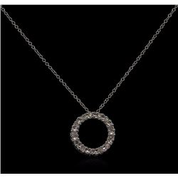 0.10 ctw Diamond Circle Pendant With Chain - 10KT White Gold