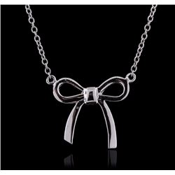14KT White Gold Bow Necklace