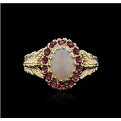 14KT Yellow Gold 1.00 ctw Opal and Ruby Ring