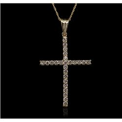 14KT Yellow Gold 1.00 ctw Diamond Pendant With Chain