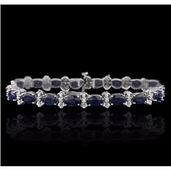 14KT White Gold 16.38 ctw Sapphire and Diamond Bracelet