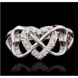 14KT White Gold 0.27 ctw Heart Diamond Ring