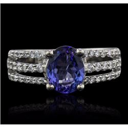 18KT White Gold 1.38 ctw Tanzanite and Diamond Ring