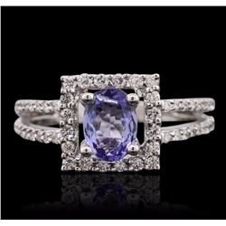18KT White Gold 0.83 ctw Tanzanite and Diamond Ring