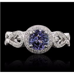 18KT White Gold 1.19 ctw Tanzanite and Diamond Ring