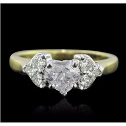 18KT Yellow Gold 1.44 ctw Heart Cut Diamond Ring