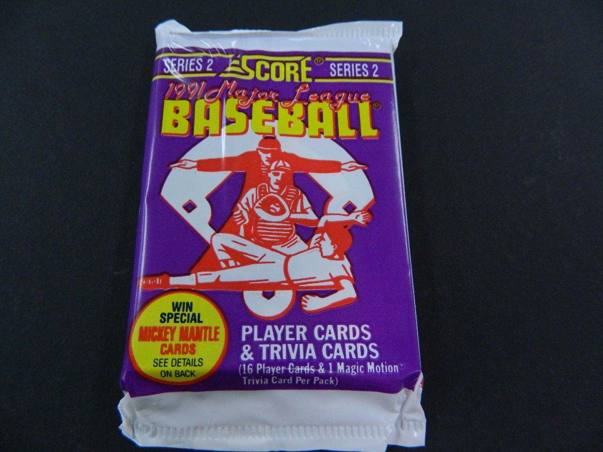 Six 6 Unopened Packs Of 1991 Score Baseball Cards Series 2 16 Cards Plus 1 Magic Motion Trivia