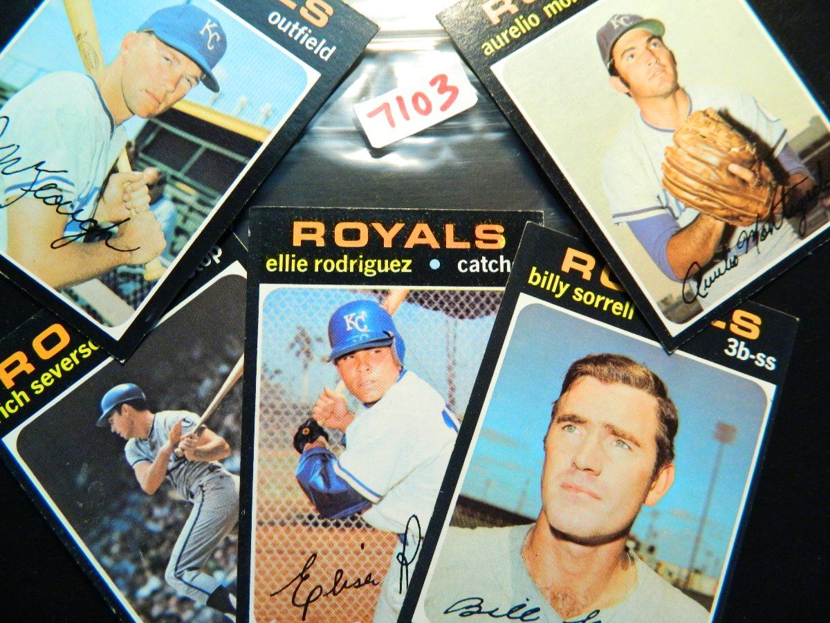 Five 5 1971 Topps Baseball Cards All Kc Royals All One Money