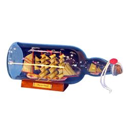 """Hand Made Red Flying Cloud Ship in a Bottle w/Sky 11"""""""