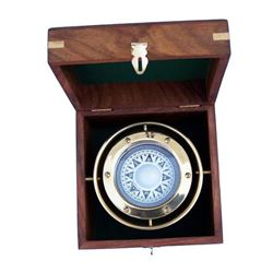 "Nautical Solid BrassGimbal Compass w/ Rosewood Box 4.5"""