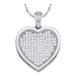 10KT White Gold 0.05CTW DIAMOND HEART PENDENT