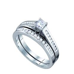 10KT White Gold 0.50CT DIAMOND PRINCESS CENTER BRIDAL S