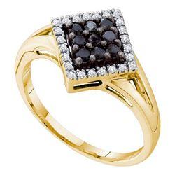 14K Yellow-gold 0.25CTW BLACK DIAMOND FASHION RING