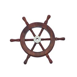 """Nautical Deluxe Class Wood and Brass Ship Wheel 9"""""""