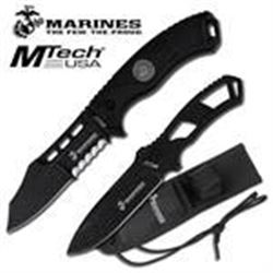 Official Licensed Marines Black Fixed Blade Knife & Thr