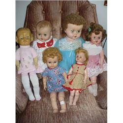 Lot of Soft Vinyl Head dolls (6)