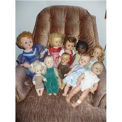 Assortment of soft vinyl head dolls (10)