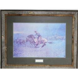 "Large framed print ""The Stampede"" by Frederic"