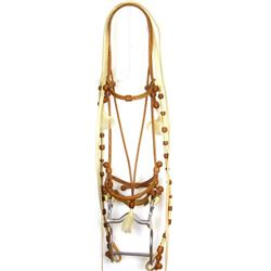 Fine braided leather headstall and reins