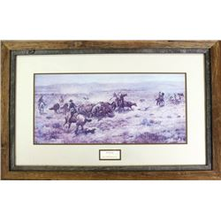 "Large nicely framed ""The Round Up"""