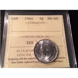 1944 Canada 5 Cents - ICCS MS-66!!