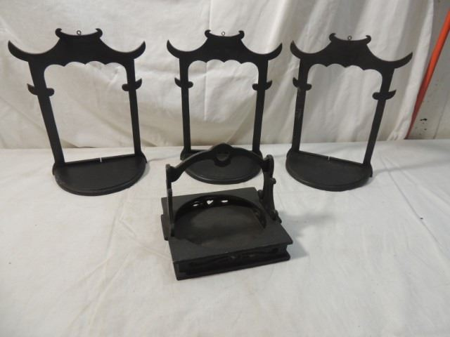lot 4 oriental asian wall shelf stand candle holde rh icollector com large asian style wall shelves large asian style wall shelves
