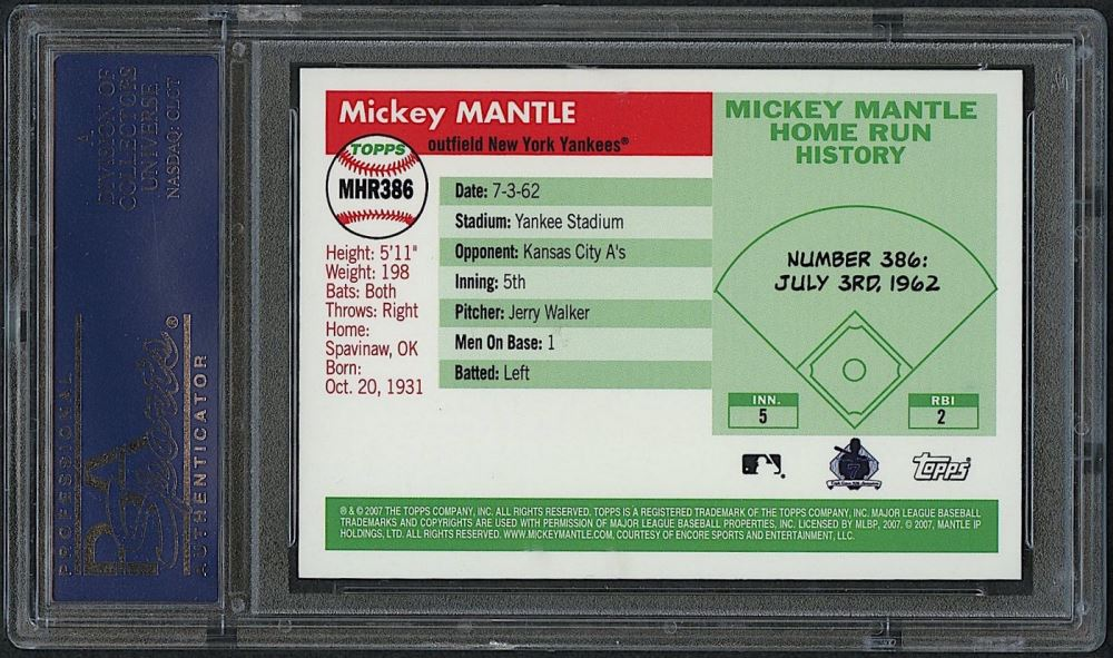 Mickey Mantle 2007 Topps Mantle Home Run History #386 (PSA 10)
