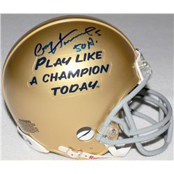 "Paul Hornung Signed Notre Dame ""Play Like A Champion Today"" Mini-Helmet Inscribed ""HT 56"" (Schwartz"